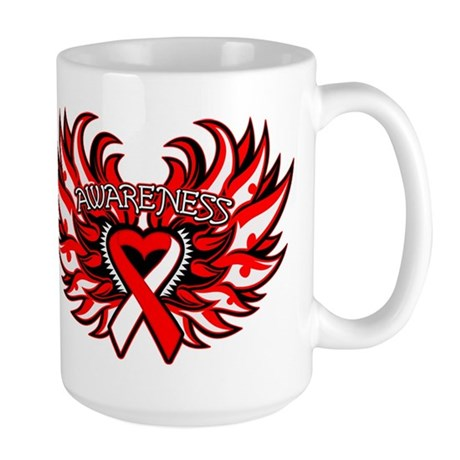 Oral Cancer Heart Wings Large Mug