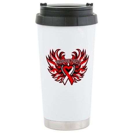 Oral Cancer Heart Wings Ceramic Travel Mug