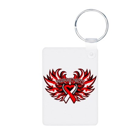 Oral Cancer Heart Wings Aluminum Photo Keychain