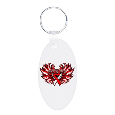 Oral Cancer Heart Wings Aluminum Oval Keychain