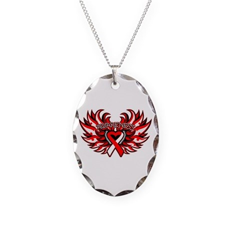 Oral Cancer Heart Wings Necklace Oval Charm