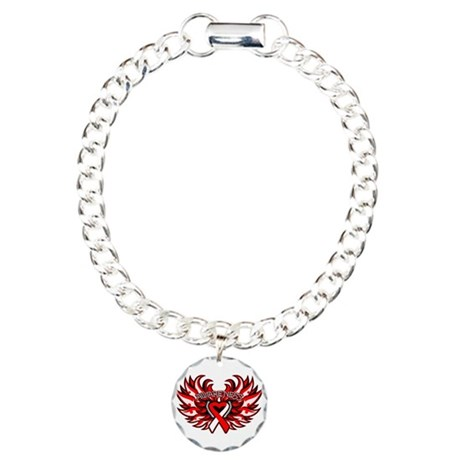 Oral Cancer Heart Wings Charm Bracelet, One Charm