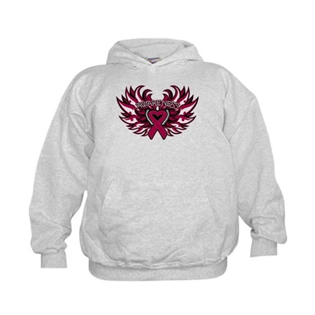Multiple Myeloma Heart Wings Kids Hoodie