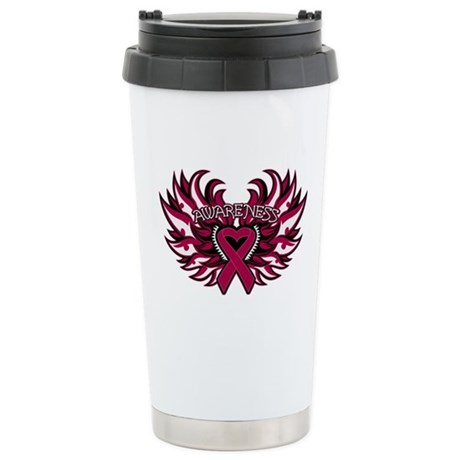 Multiple Myeloma Heart Wings Ceramic Travel Mug