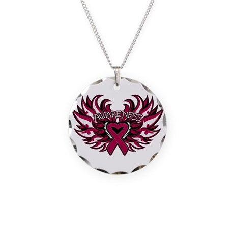 Multiple Myeloma Heart Wings Necklace Circle Charm