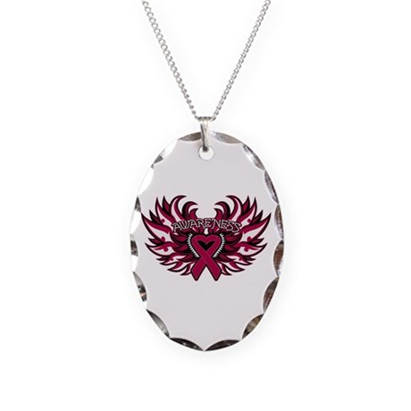Multiple Myeloma Heart Wings Necklace Oval Charm