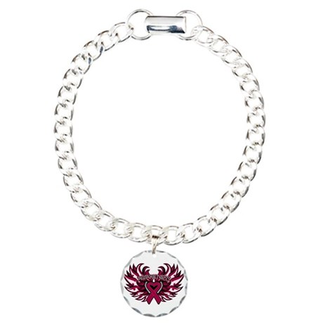 Multiple Myeloma Heart Wings Charm Bracelet, One C