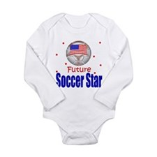 Cute American soccer Long Sleeve Infant Bodysuit