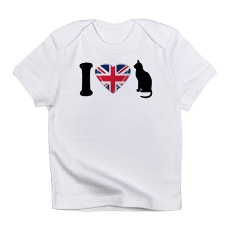 I Heart Cats with Union Jack Heart Infant T-Shirt