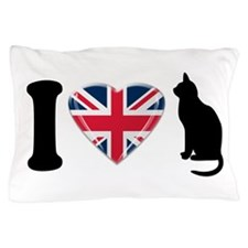 I Heart Cats with Union Jack Heart Pillow Case