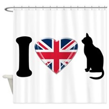 I Heart Cats with Union Jack Heart Shower Curtain