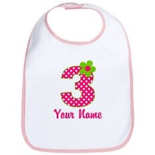 3rd Birthday Pink Green Bib
