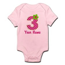3rd Birthday Pink Green Infant Bodysuit
