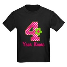 4th Birthday Pink Green T