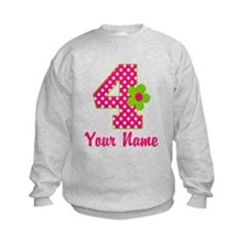 4th Birthday Pink Green Sweatshirt