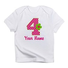 4th Birthday Pink Green Infant T-Shirt