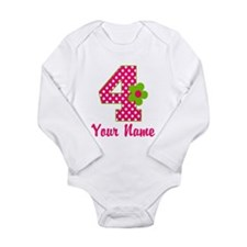 4th Birthday Pink Green Onesie Romper Suit