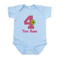 4th Birthday Pink Green Infant Bodysuit