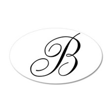 B Initial Black and White Sript Wall Decal