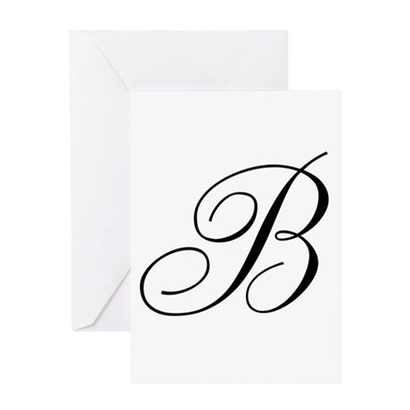 B Initial Black and White Sript Greeting Card