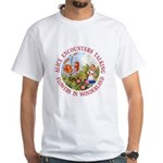 Alice Encounters Talking Flowers White T-Shirt