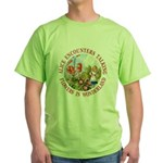 Alice Encounters Talking Flowers Green T-Shirt