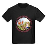 Alice Encounters Talking Flowers Kids Dark T-Shirt