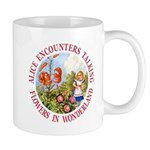 Alice Encounters Talking Flowers Mug
