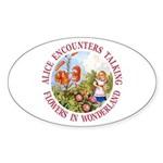 Alice Encounters Talking Flowers Sticker (Oval 50