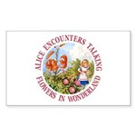 Alice Encounters Talking Flowers Sticker (Rectangl