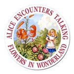 Alice Encounters Talking Flowers Round Car Magnet