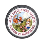 Alice Encounters Talking Flowers Wall Clock