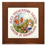 Alice Encounters Talking Flowers Framed Tile