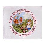 Alice Encounters Talking Flowers Throw Blanket