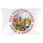 Alice Encounters Talking Flowers Pillow Case