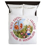 Alice Encounters Talking Flowers Queen Duvet
