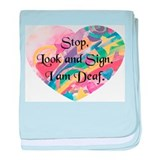 Stop, Look Sign Heart baby blanket