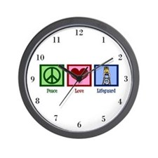 Peace Love Lifeguard Wall Clock