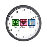 Peace Love Midwife Wall Clock