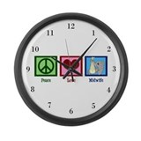Peace Love Midwife Large Wall Clock