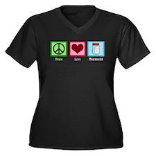Peace Love Pharmacist Women's Plus Size V-Neck Dar