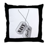 Cute Navy Baby Dog Tags Throw Pillow