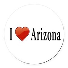 I Love Arizona Round Car Magnet
