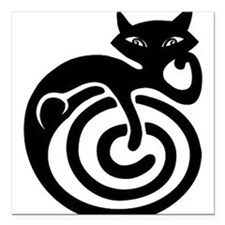 "black-cat-tattoo-design.png Square Car Magnet 3"" x"