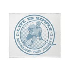 Eat, Sleep, Play Hockey Throw Blanket