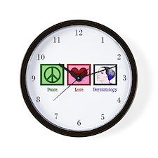 Peace Love Dermatology Wall Clock