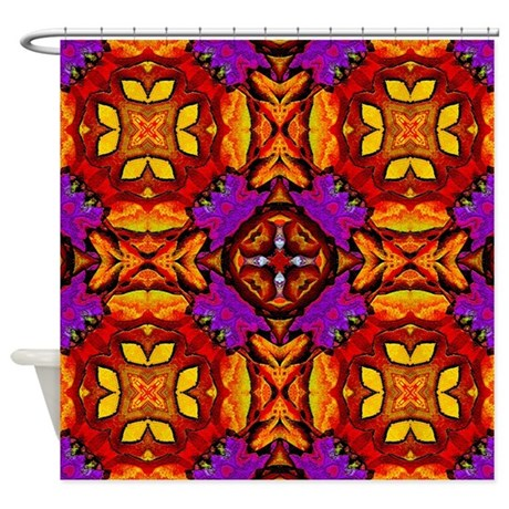 Tile Flower Shower Curtain
