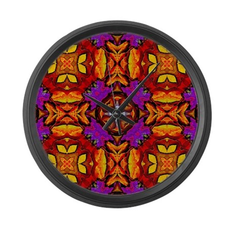 Tile Flower Large Wall Clock