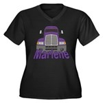 Trucker Marlene Women's Plus Size V-Neck Dark T-Sh