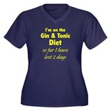 Gin & Tonic Diet Women's Plus Size V-Neck Dark T-S